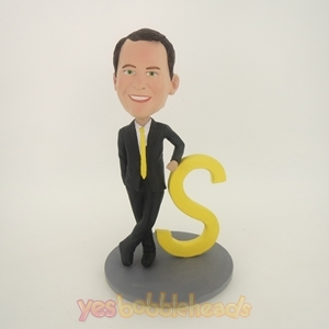 Picture of Custom Bobblehead Doll: Black Suit Man Rely On S