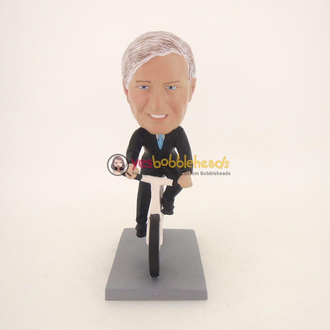 Picture of Custom Bobblehead Doll: Black Suit Man Riding Bicycle