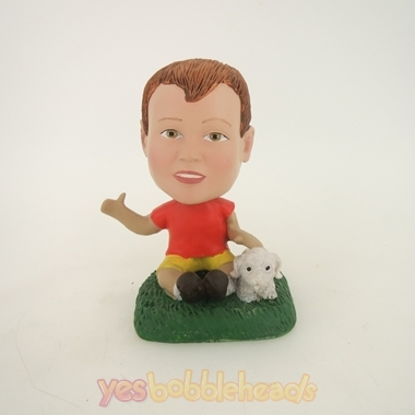 Picture of Custom Bobblehead Doll: Boy And Puppy
