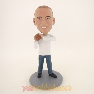 Picture of Custom Bobblehead Doll: Casual Man With Football