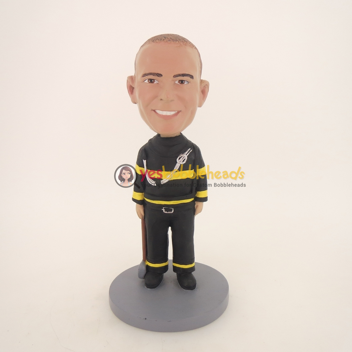 Picture of Custom Bobblehead Doll: Fireman Holding Hammer