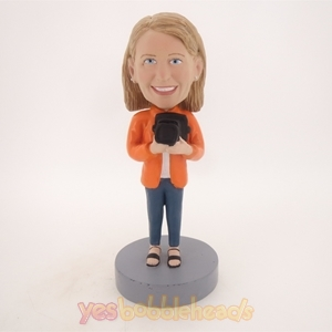 Picture of Custom Bobblehead Doll: Girl Holding Camera
