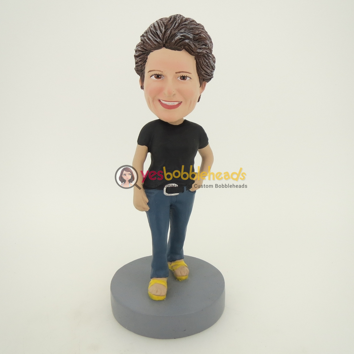 Picture of Custom Bobblehead Doll: Black Short Sleeve Woman