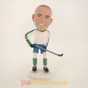 Picture of Custom Bobblehead Doll: Hockey Playing Man With Stick