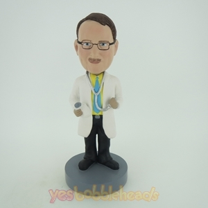 Picture of Custom Bobblehead Doll: Male Doctor Holding Stethoscope