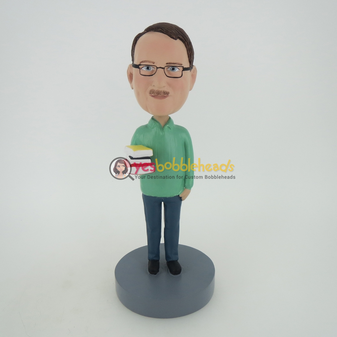 Picture of Custom Bobblehead Doll: Man Books On Hand