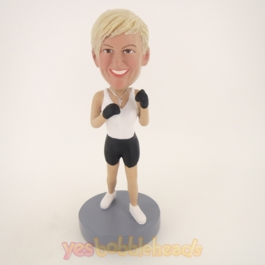 Picture of Custom Bobblehead Doll: Boxing Woman White Vest