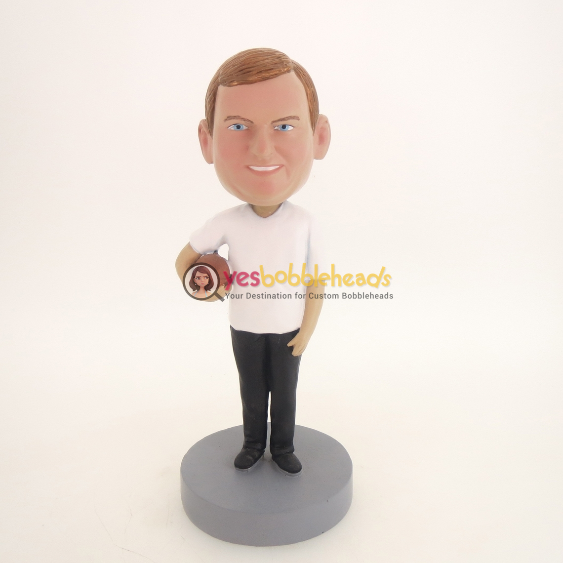 Picture of Custom Bobblehead Doll: Man Holding Football