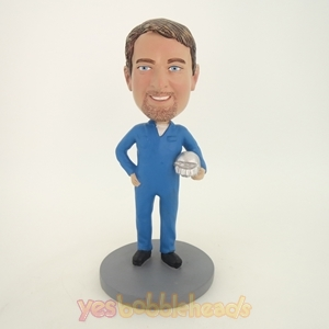 Picture of Custom Bobblehead Doll: Engineer Holding Protective Helmet