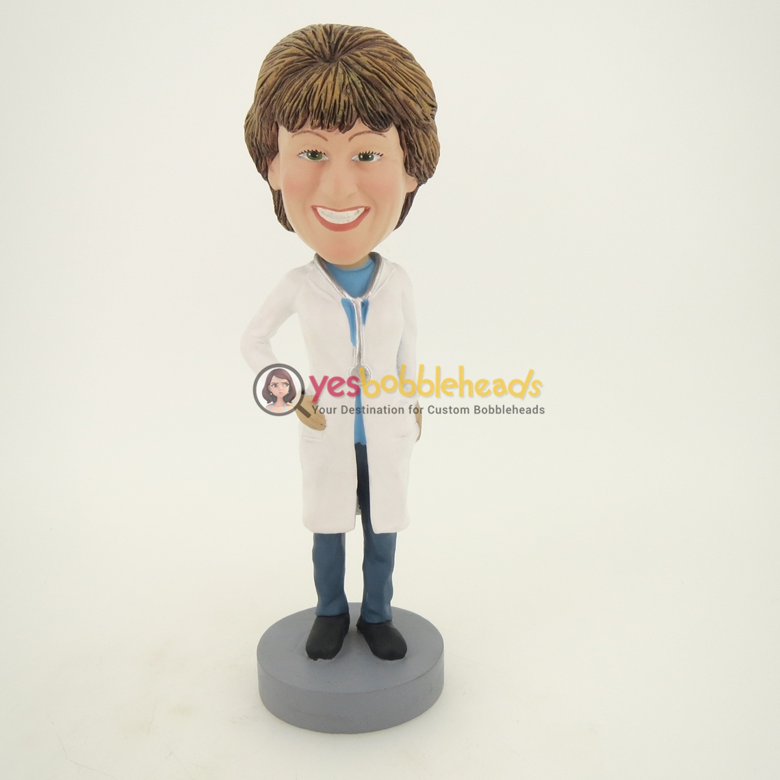 Picture of Custom Bobblehead Doll: Female Doctor with White Gown