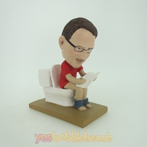 Picture of Custom Bobblehead Doll: Man Reading On Closestool