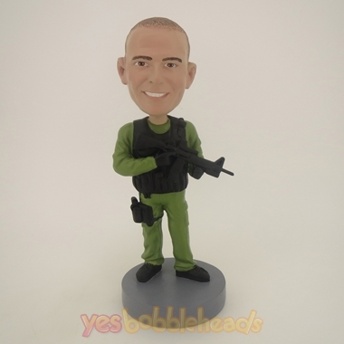 Picture of Custom Bobblehead Doll: Military Man With Gun And Walkie Talkie