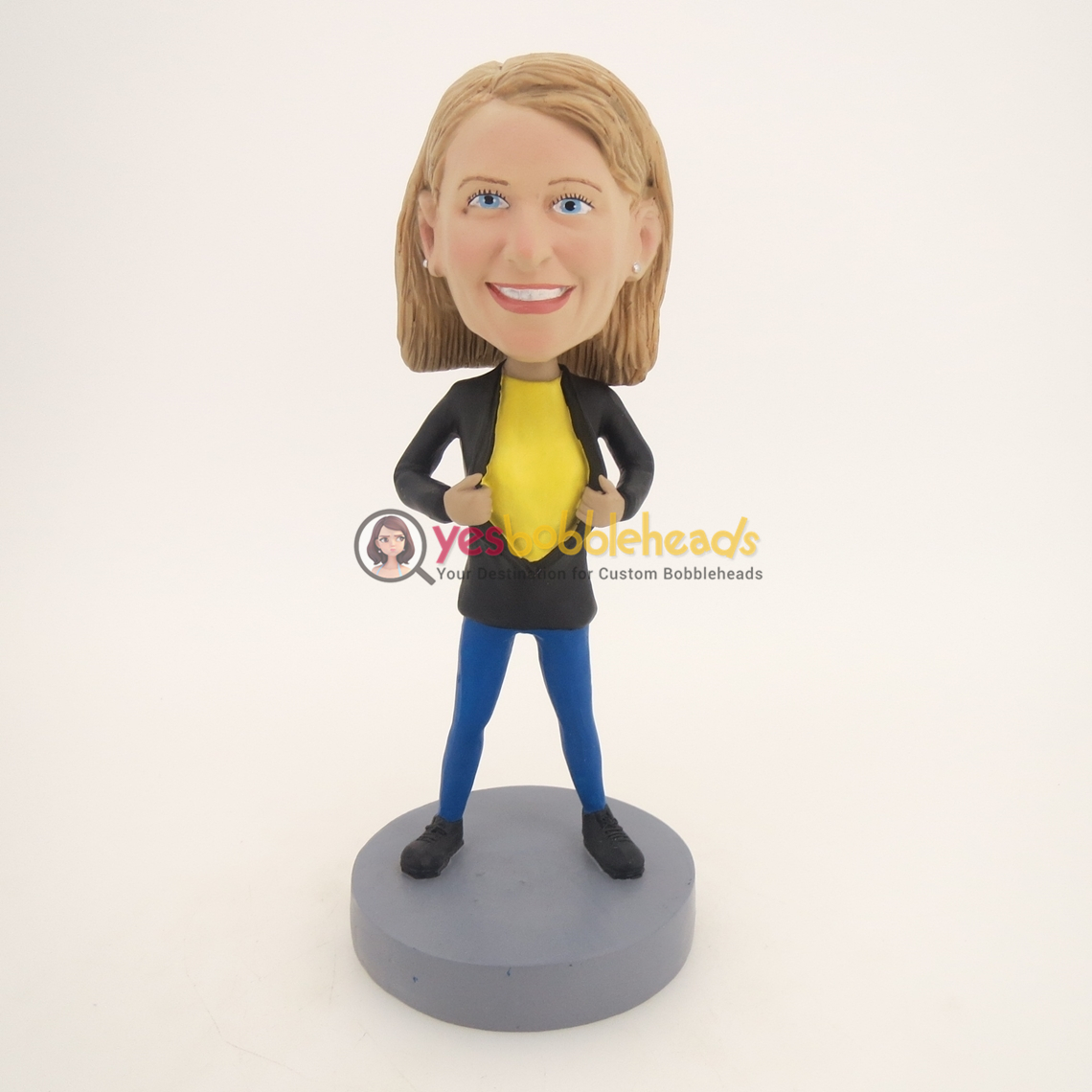 Picture of Custom Bobblehead Doll: Girl with Black Suit