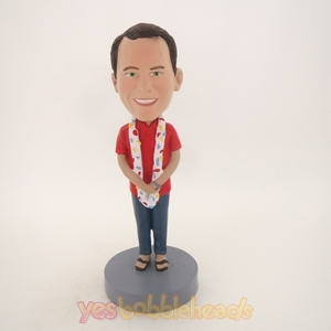 Picture of Custom Bobblehead Doll: Man with Hawaii Lei