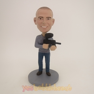 Picture of Custom Bobblehead Doll: Military Man With Machine Gun