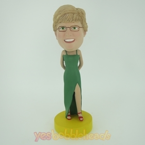 Picture of Custom Bobblehead Doll: Green Longuette Woman