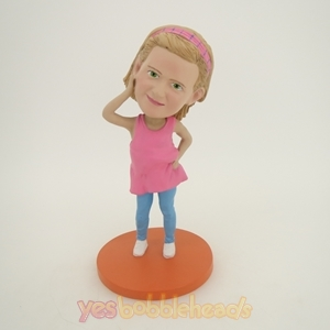 Picture of Custom Bobblehead Doll: Pink Dress Girl