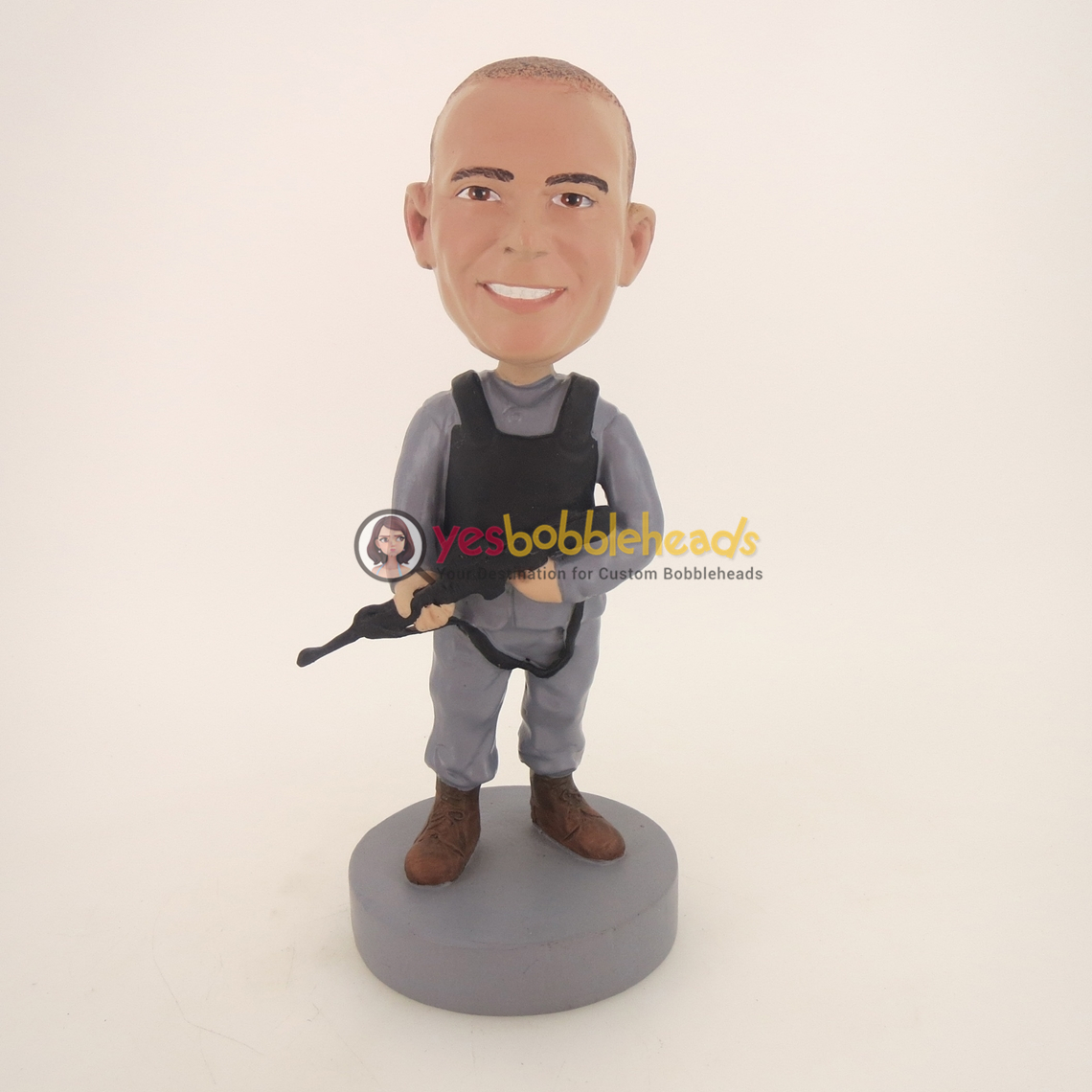 Picture of Custom Bobblehead Doll: Military Policeman With Machine Gun