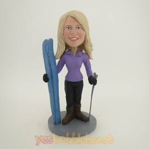 Picture of Custom Bobblehead Doll: Standing Skiing Woman