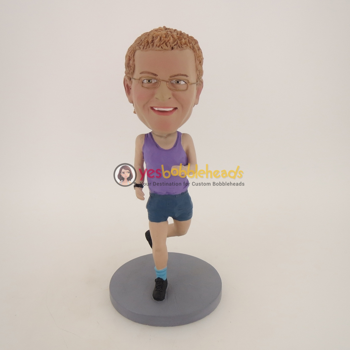 Picture of Custom Bobblehead Doll: Running Man With Purple Vest