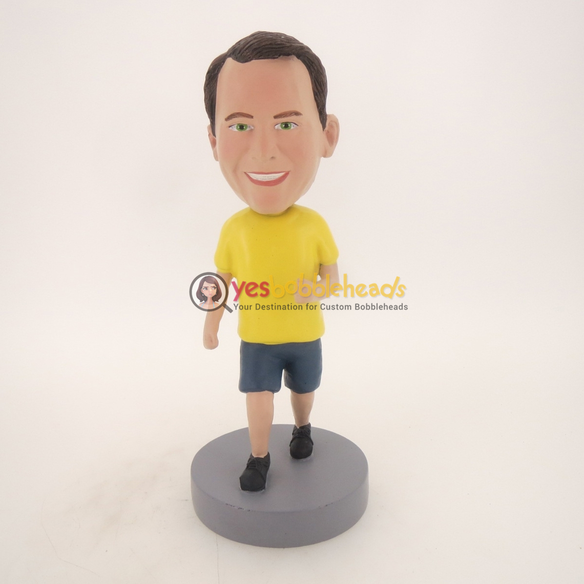Picture of Custom Bobblehead Doll: Running Man With Yellow Short Sleeve