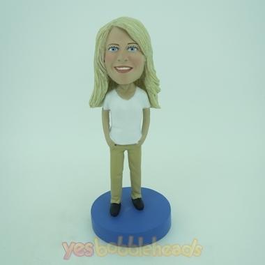 Picture of Custom Bobblehead Doll: White Short Sleeve Woman