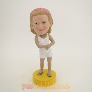 Picture of Custom Bobblehead Doll: White Vest Girl