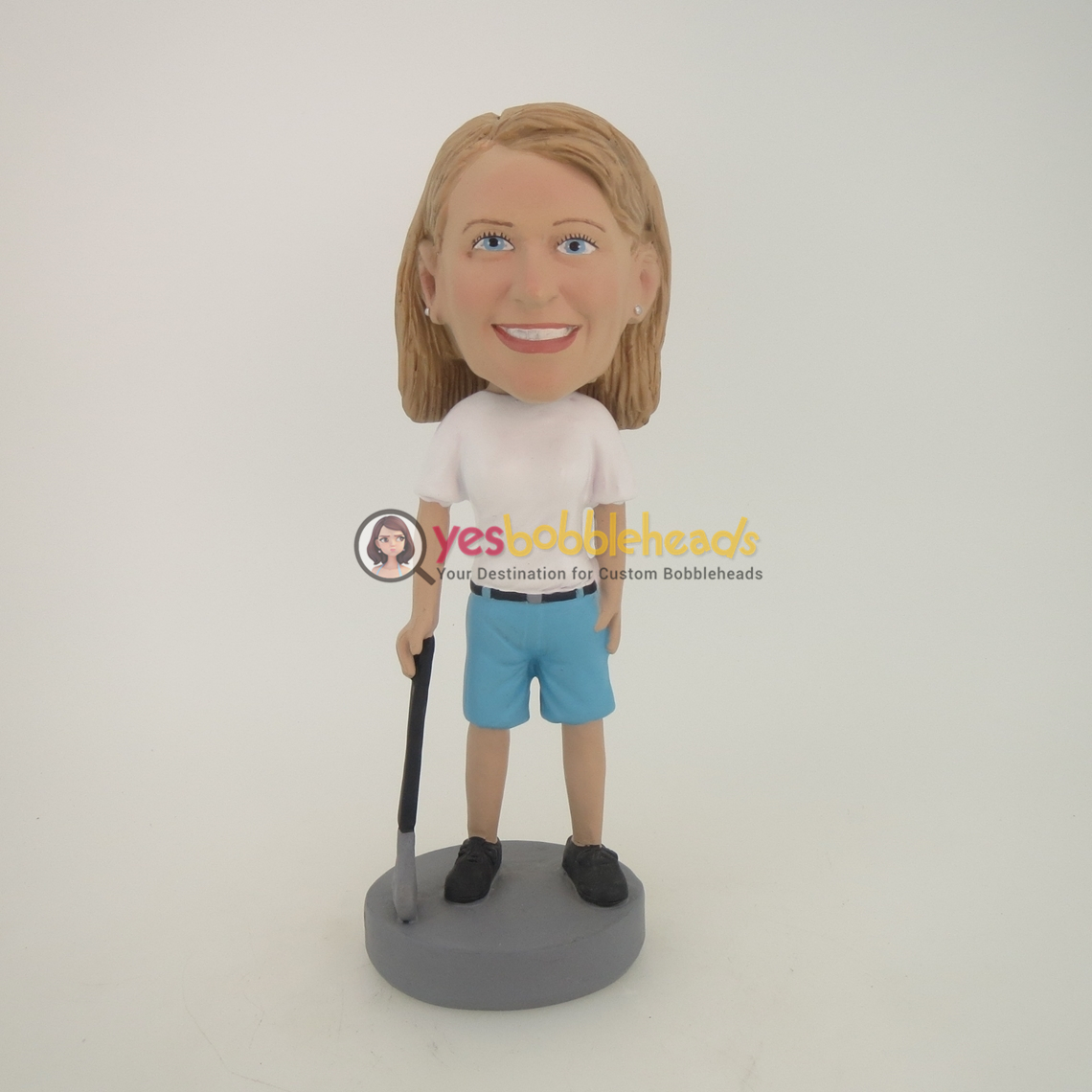 Picture of Custom Bobblehead Doll: Woman Holding Golf Club