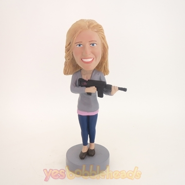 Picture of Custom Bobblehead Doll: Woman with Machine Gun