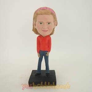 Picture of Custom Bobblehead Doll: Girl In Orange Dress And Blue Jeans