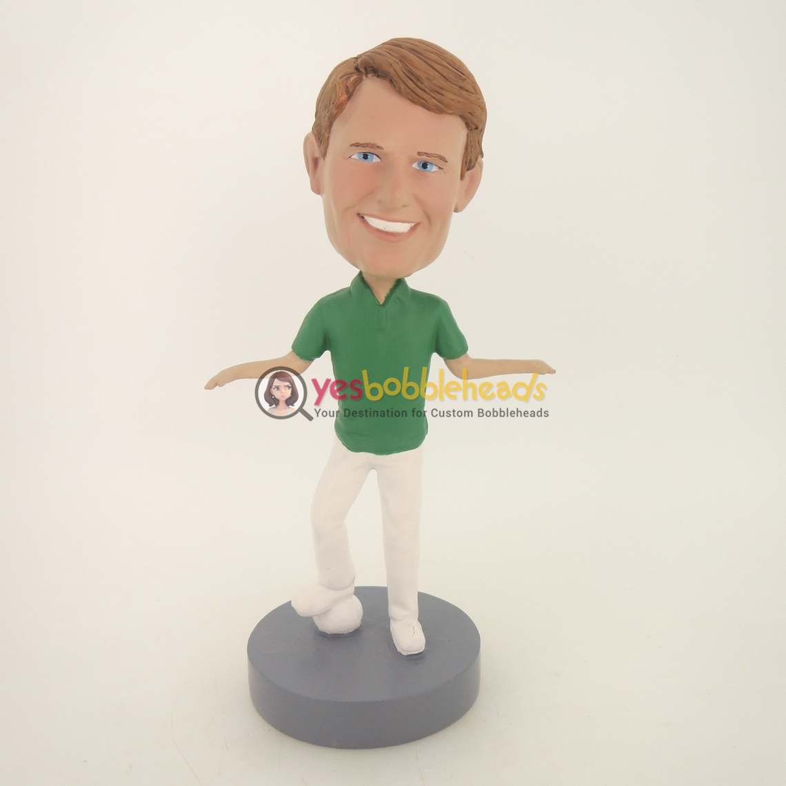 Picture of Custom Bobblehead Doll: Two Hands Out Ball Under Footer Man