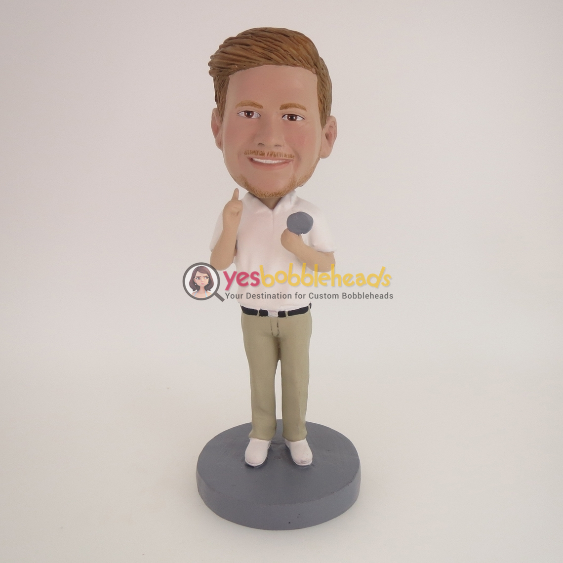 Picture of Custom Bobblehead Doll: White Shirt Man With Microphone