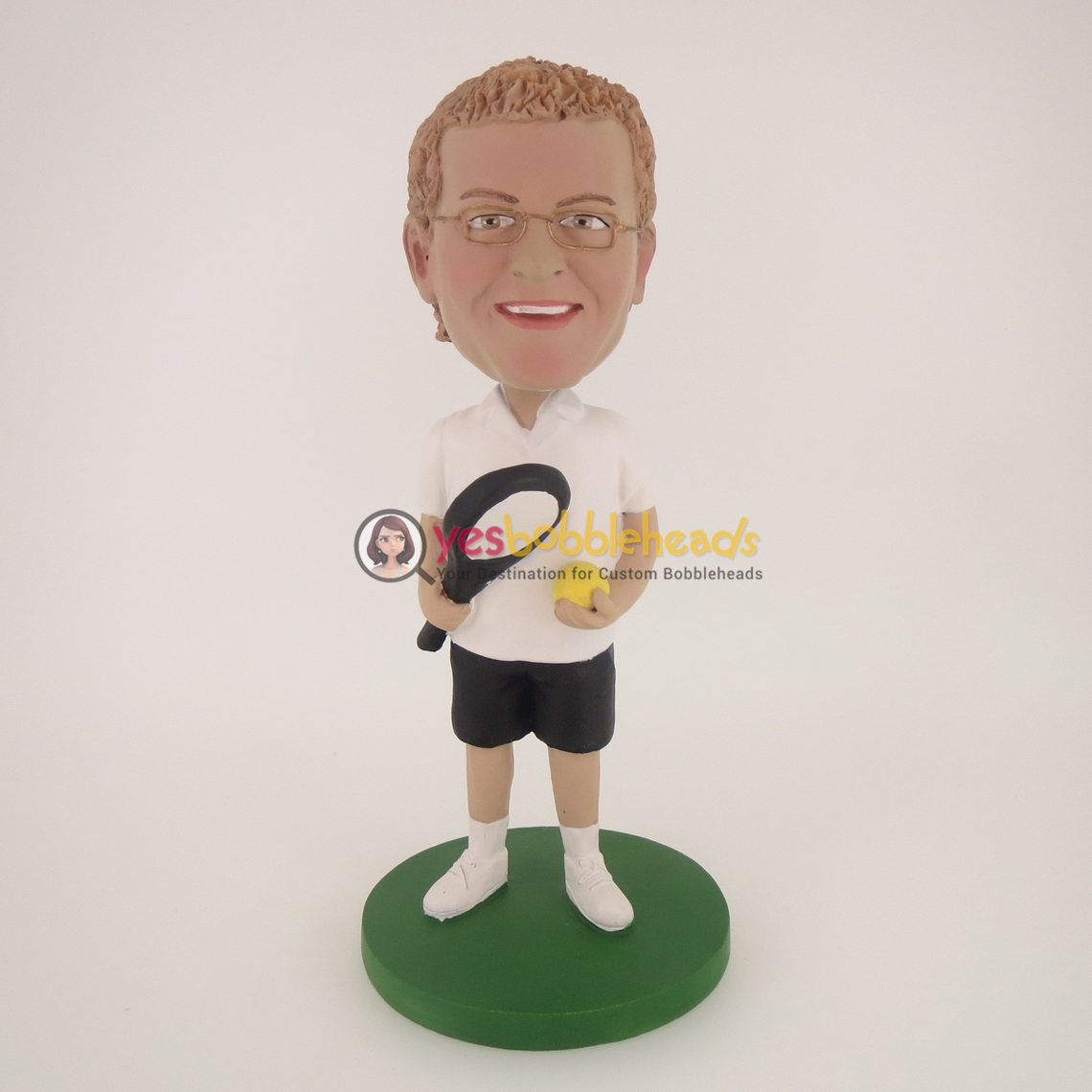 Picture of Custom Bobblehead Doll: White T-Shirt Tennis Player