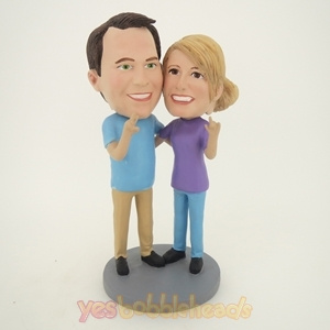 Picture of Custom Bobblehead Doll: Arm Behind Each Other Talking Couple