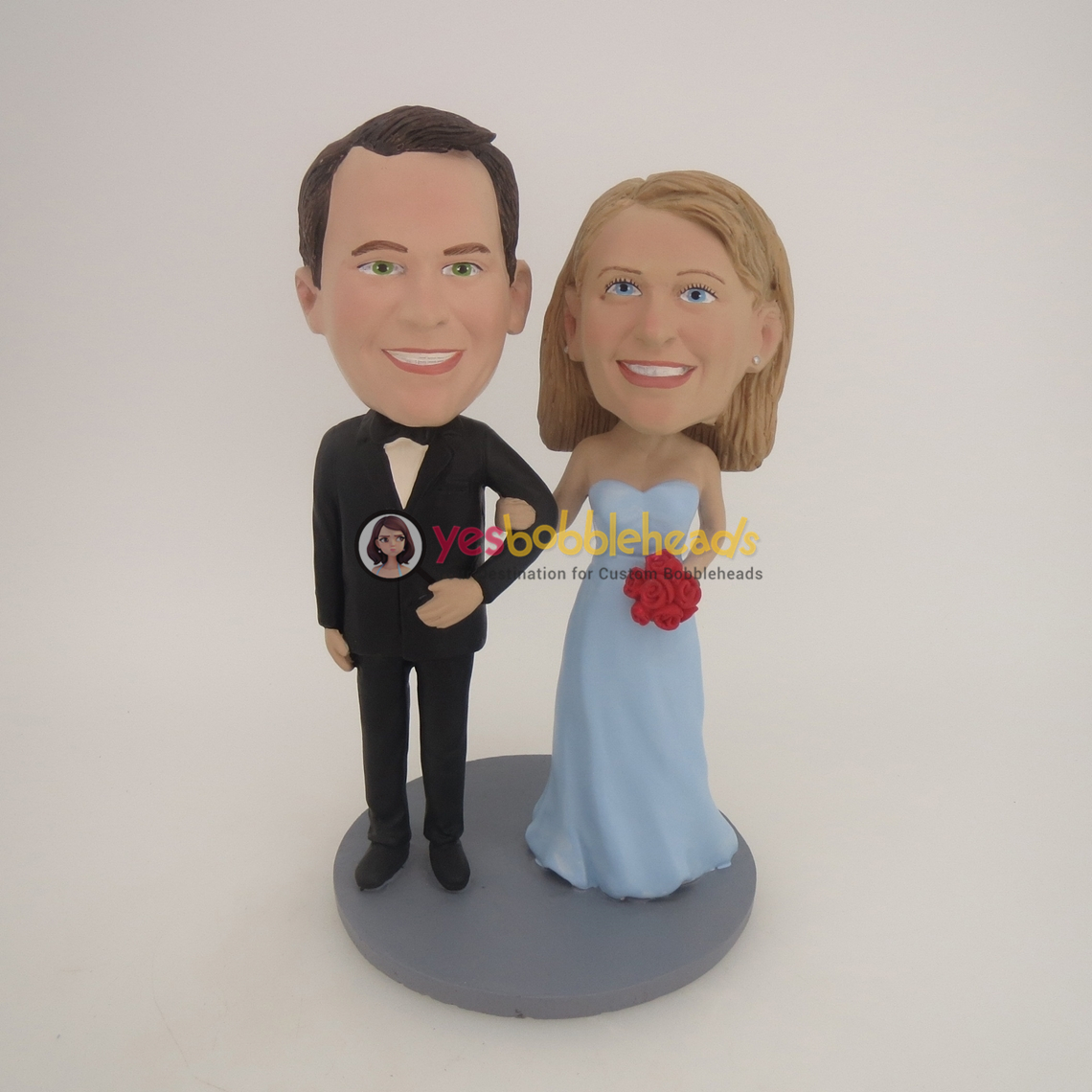 Picture of Custom Bobblehead Doll: Arms Around Each Other Retro Wedding Couple
