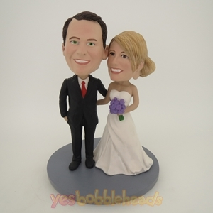 Picture of Custom Bobblehead Doll: Arms Around Each Other Wedding Couple