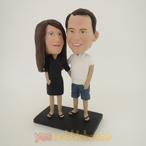 Picture of Custom Bobblehead Doll: Arms Around Each Other Casual Couple