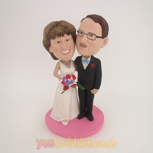 Picture of Custom Bobblehead Doll: Black Suit And White Wedding Dress Arm Behind Each Other Wedding Couple