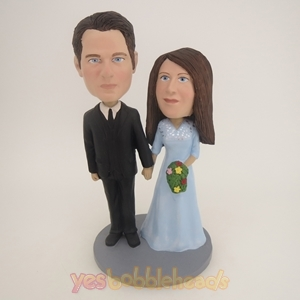 Picture of Custom Bobblehead Doll: Black Suit Groom Hand In Hand Couple