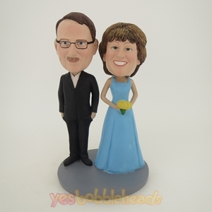 Picture of Custom Bobblehead Doll: Black Suit Man And Bride