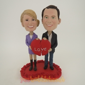 Picture of Custom Bobblehead Doll: Couple Holding Two Halves Of Heart