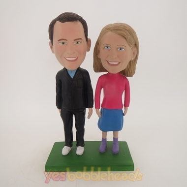Picture of Custom Bobblehead Doll: Couple Standing on Lawn