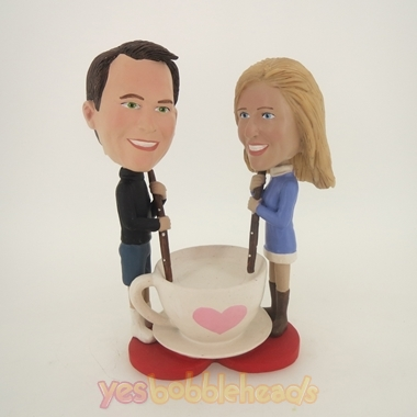 Picture of Custom Bobblehead Doll: Couple Stirring Love Mug