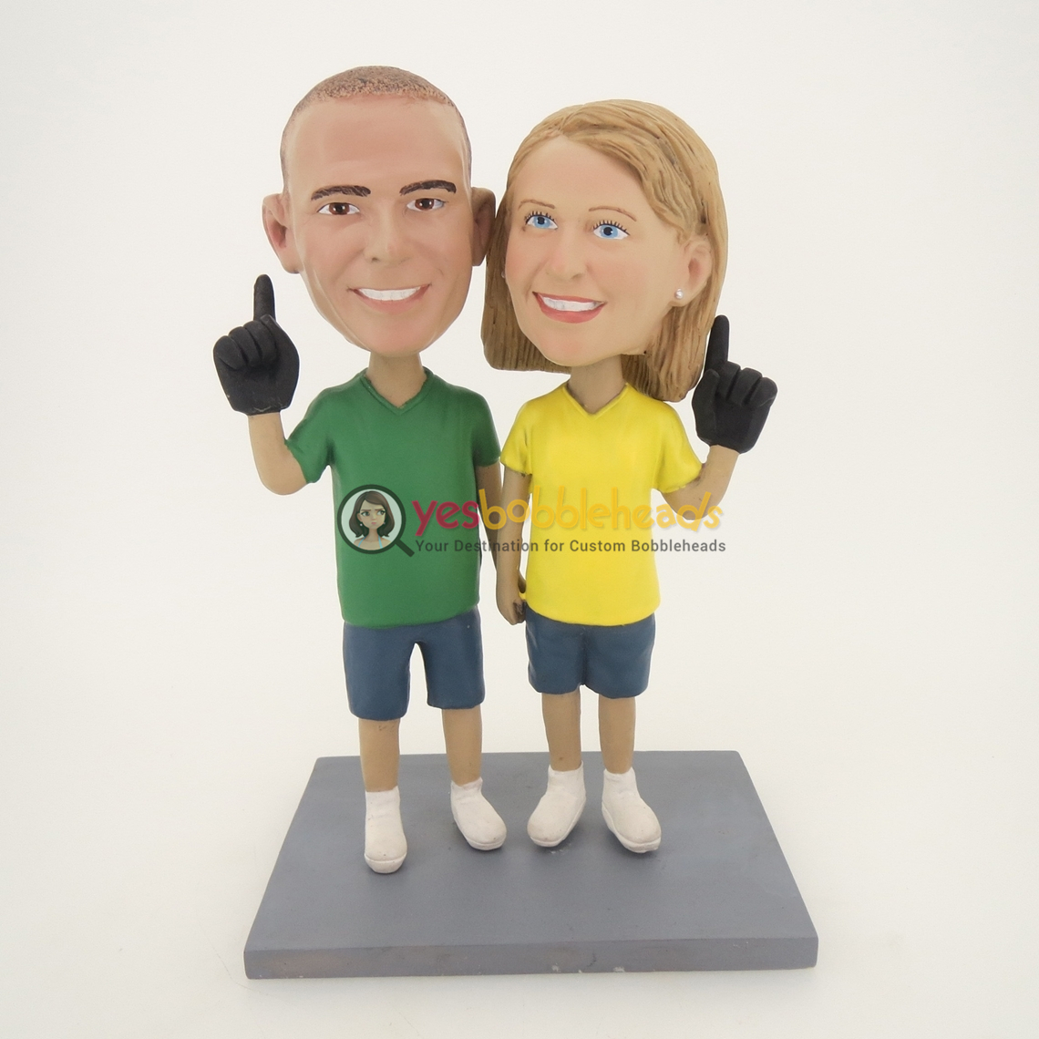 Picture of Custom Bobblehead Doll: Hand In Hand Baseball Fun Couple