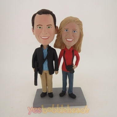 Picture of Custom Bobblehead Doll: Hand In Hand Photography Couple