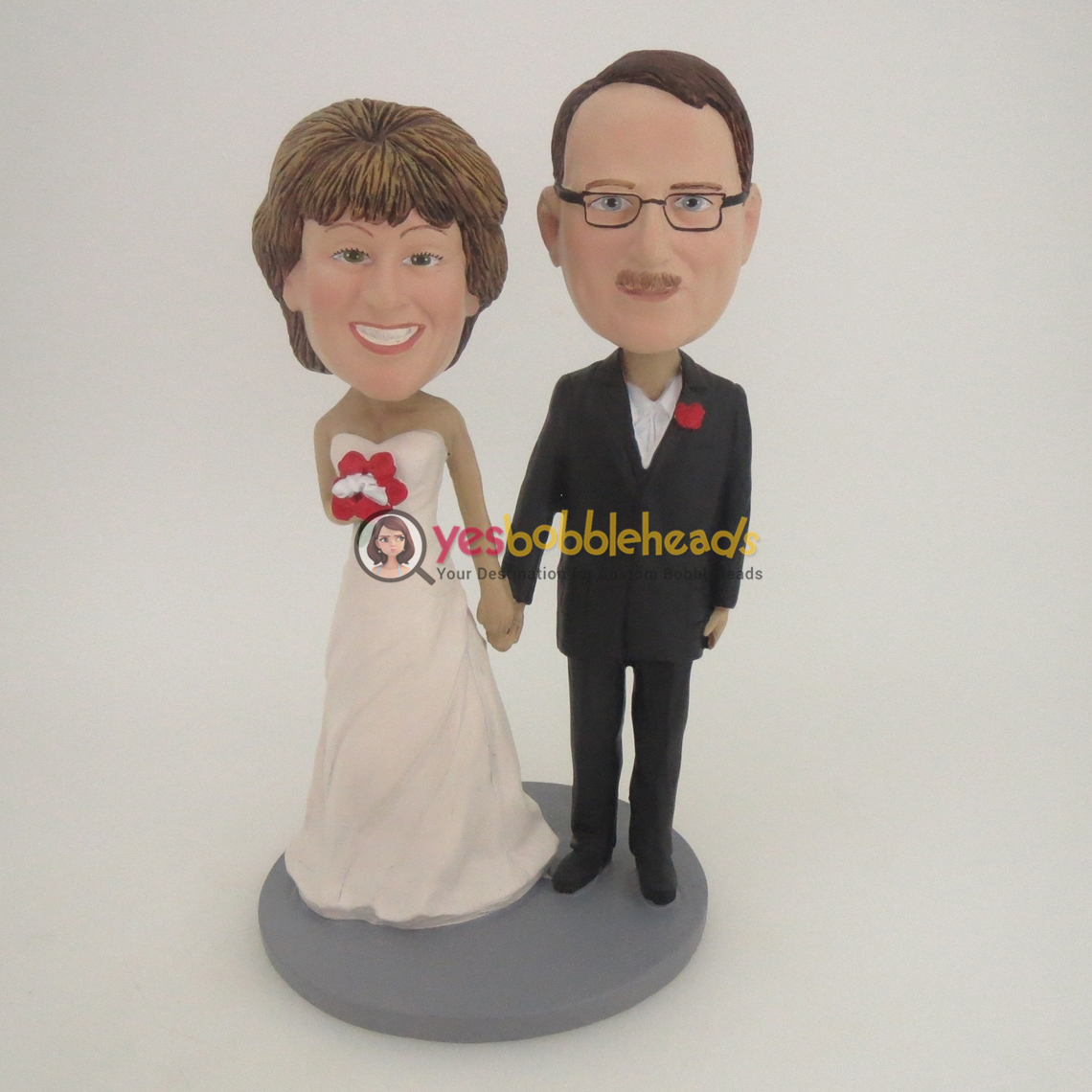 Picture of Custom Bobblehead Doll: Hand In Hand Wedding Couple