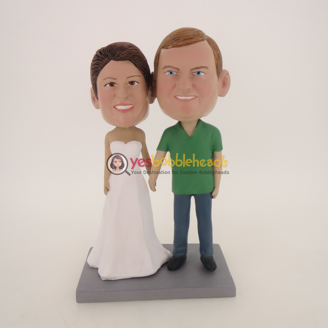 Picture of Custom Bobblehead Doll: Hand In Hand White Dress Bride Couple
