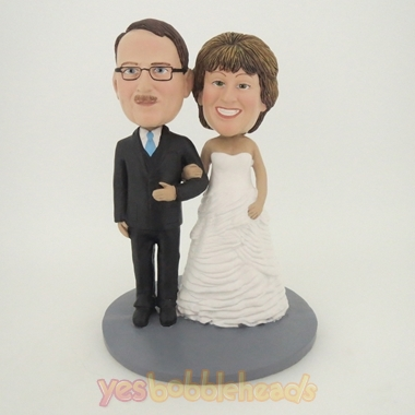 Picture of Custom Bobblehead Doll: Happy Arms Linked Man and Woman