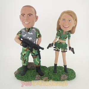 Picture of Custom Bobblehead Doll: Military Couple With Weapons