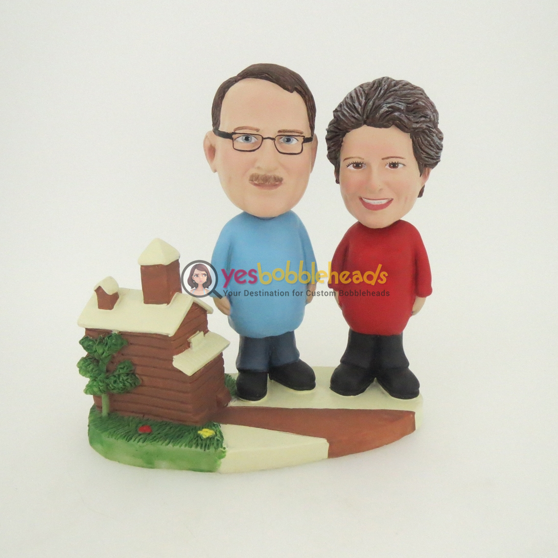 Picture of Custom Bobblehead Doll: Woman And Man With Beautiful House
